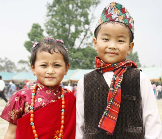 Children dressed traditional attire during celebration of traditional ...