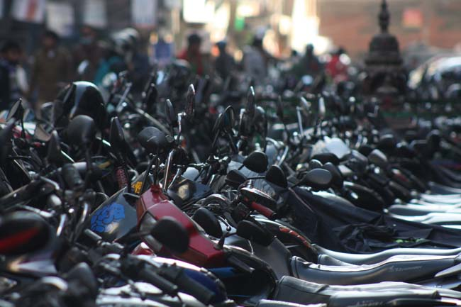 02 Unmanaged Motorcycle Parking in New Road Kathmandu