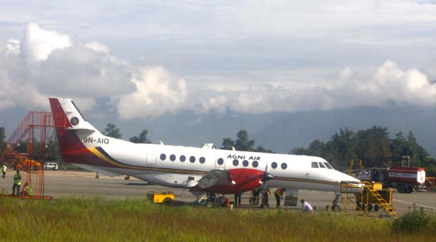 01 An aircraft of Agni Air with call sign of 9N AIG grounded on Tribhuvan International Airport, Kathmandu, Nepal