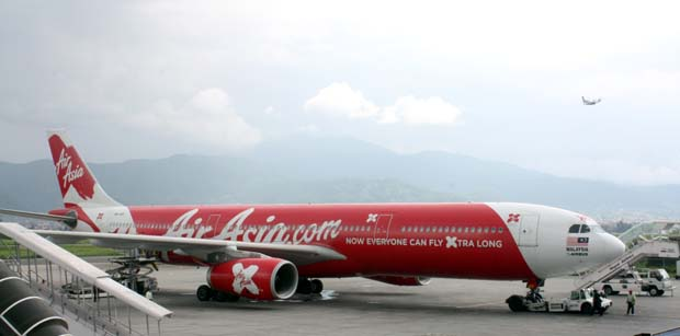03 Aircraft of AirAsiaX budget airlines which connects Nepal with Malaysia on ground at Tribhuvan International Airport Kathmandu