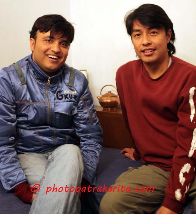 03 Alok Nembang Nepalese film and music videos director with singer Hemanta Sharma