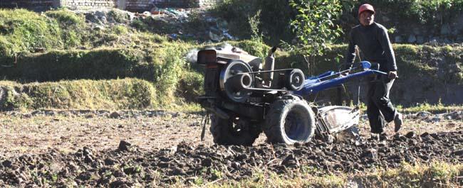 03 Ploughing with a power tiller in Kathmandu