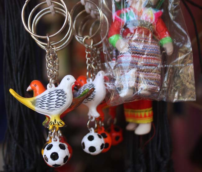 01 Key rings for sale on a stall in Manakamana Gorkha Nepal