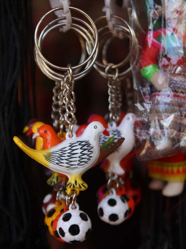 02 Key rings for sale on a stall in Manakamana Gorkha Nepal