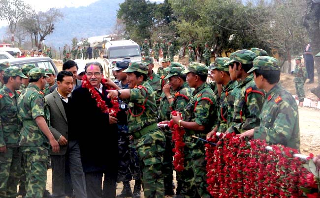 Maoist People's Leberation Army welcoming Prachand their supremo on their fifth devisional office in Dahaban