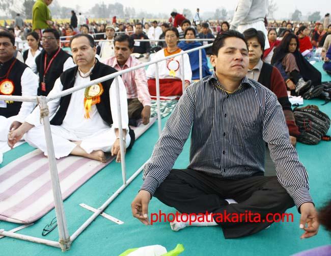01 Rishi Dhamala Nepali Journalist participating in BABA Ramdev's Yog Shivir in KAthmandu
