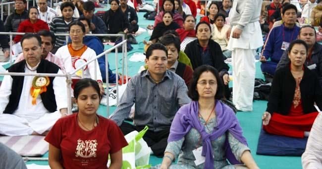 02 Rishi Dhamala Nepali Journalist participating in BABA Ramdev's Yog Shivir in KAthmandu