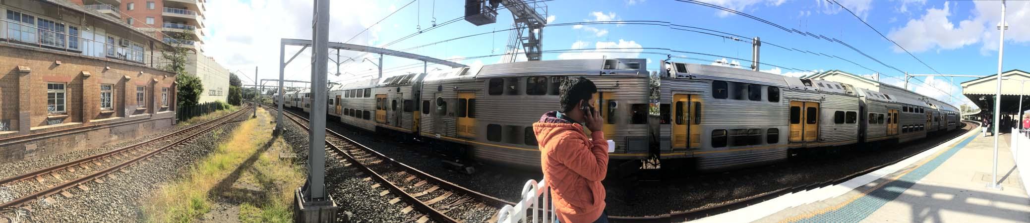 02 Sydney Railway Track Wide Shot Rail in Sydney Railways Train on Track