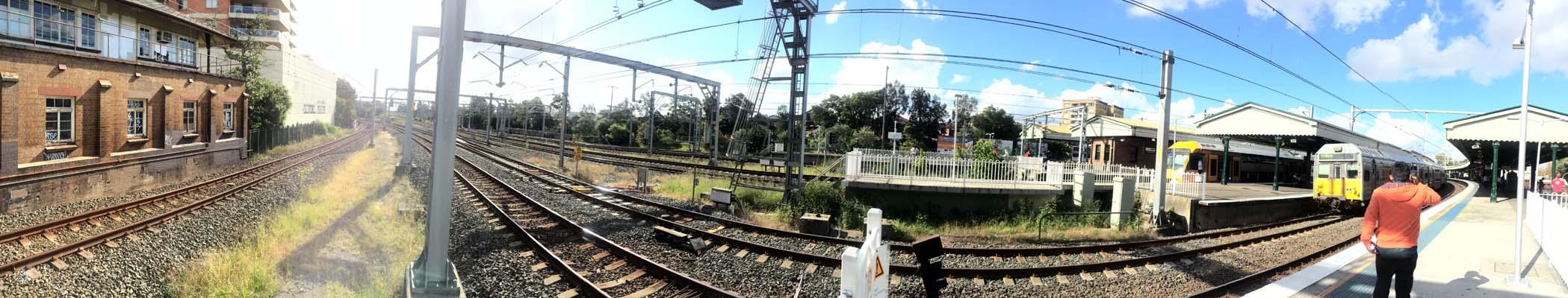 03 Sydney Railway Track Wide Shot Rail in Sydney Railways Train on Track