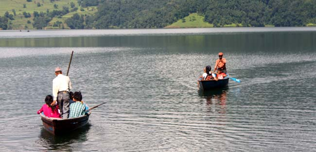 01 People boating on Begnas Tal (Begnas Lake) Pokhara Kaski Nepal