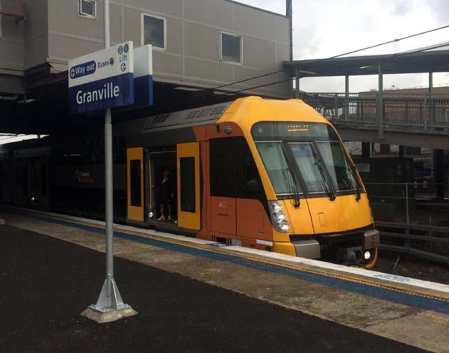 02 Sydney Trains Granville Station Train on Track
