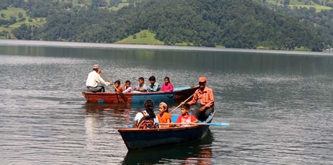 02People boating on Begnas Tal (Begnas Lake) Pokhara Kaski Nepal