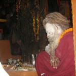 God and Devotee (Hindu Sadhu baba at the temple in kathmandu)