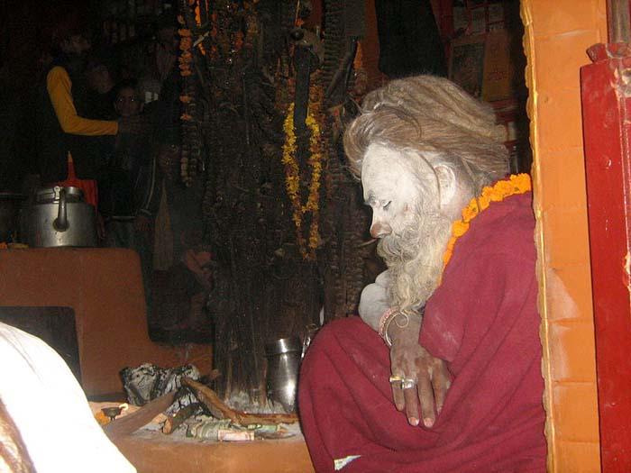 God and Devotee (Hindu Sadhu baba at the temple in kathmandu)