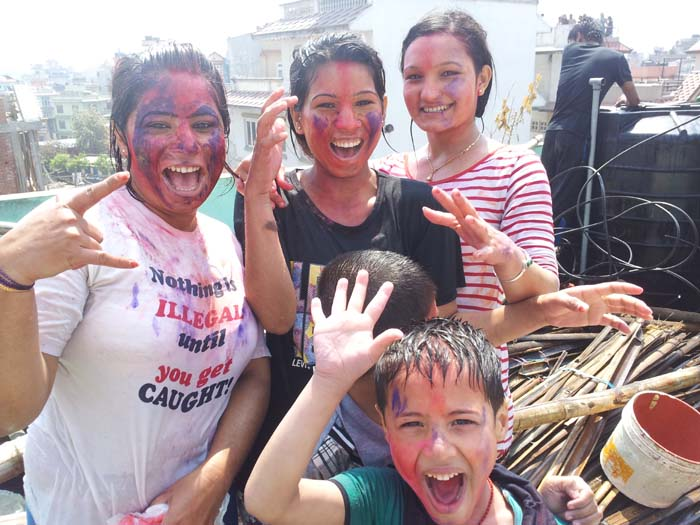 Holi celebration with colors in Kathmandu