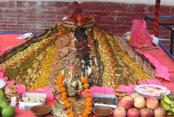 Samay Baji (84 veriety of foods offering for god) in Newari tredition