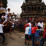 Children pulling Minnath's Rath during Rato Machhendranath Jatra at Mangalbazar